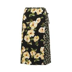 TopShop Busy Garden Wrap Midi Skirt ($45) ❤ liked on Polyvore featuring skirts, multi, flower print midi skirt, tie-dye skirt, topshop skirts, floral printed skirt and floral skirt
