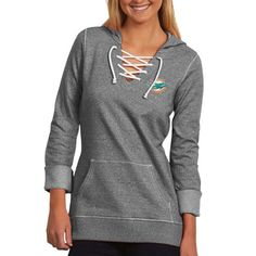 Miami Dolphins Antigua Women's Hustle Lace-Up Hoodie – Black - $38.99