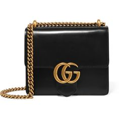 GucciGg Marmont Mini Leather Shoulder Bag ($1,750) ❤ liked on Polyvore featuring bags, handbags, shoulder bags, gucci, black, shoulder bag purse, gucci handbags, leather shoulder handbags, genuine leather shoulder bag and gucci shoulder bag