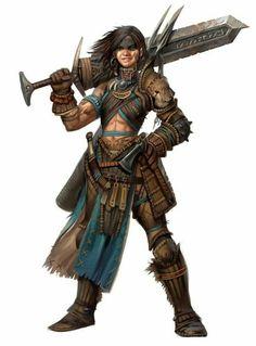 Female Bloodrager - Pathfinder PFRPG DND D&D d20 fantasy