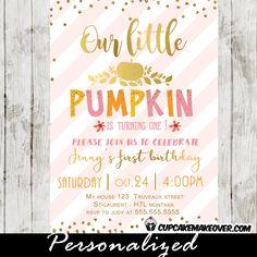 Little Pumpkin Birthday Invitation Fall Birthday Party Pumpkin