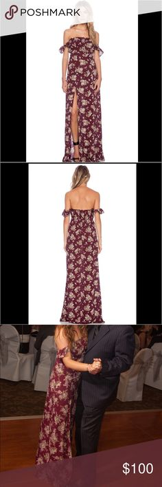 "FLYNN SKYE Bardot Maxi Dress FLYNN SKYE Bardot Maxi Dress in sold out burgundy floral print. Only worn once!! This dress is dry clean only but my husband accidentally put it in the washing machine without knowing so it may have shrunk a bit. Size is listed as Medium but Flynn Skye runs small. Elastic ruffle straps can be worn on or off-shoulder. Empire waist. Back smocked elastic. High slit in front. Buttons down chest. Measurements approx: Bust: 14"" flat (28"" around) Waist: 13"" flat (26""…"