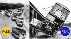 No, that's not a real photo of a double-decker bus race in 1933. It's a pre-Photoshop photo collage, despite what sources like Retronaut and @HistoryInPics might claim.  The National Archive of the Netherlands clearly archived the photo in its Flickr account under fakes, photo montages and retouched images. On the right, an actual double decker bus being tested in 1933 to prove its stability.