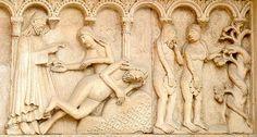Wiligelmo, Creazione di Eva e peccato originale  Facciata del duomo di Modena