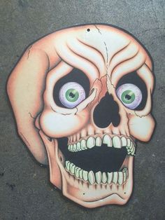 diecut skeleton skull halloween decoration retro spooky - Skull Halloween Decorations