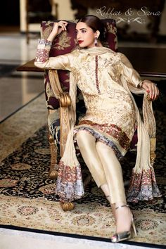 Sana Salman Mid-Summer Dress Collection 2014 by Riffat & Sana Pakistani Casual Wear, Pakistani Outfits, Indian Outfits, Traditional Fashion, Traditional Outfits, Desi Clothes, Asian Clothes, Tandoori Masala, Desi Bride
