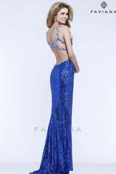 <p>Sequin with beaded cut outs and back detail</p>