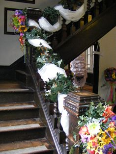 Staircase at Samlesbury Hall dressed with vibrant florals, foliage and organza. Civil Ceremony, Bridal Flowers, Floral Wedding, Ladder Decor, Florals, Floral Design, Vibrant, Stylists, Beautiful