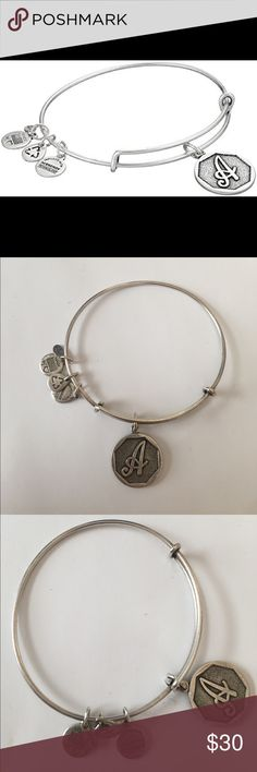 """Alex and Ani """"A"""" charm bracelet Cute, timeless, silver bangle with """"A"""" initial charm. Adjustable wire. Jewelry Bracelets"""