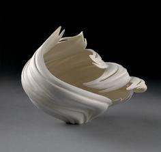 Wind Bowl by Jennifer McCurdy Ceramic Clay, Porcelain Ceramics, Ceramic Pottery, Pottery Art, Fine Porcelain, Organic Sculpture, Sculpture Art, Sculpture Projects, Jennifer Mccurdy