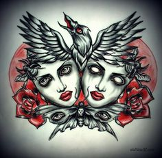 Dead heads with raven tattoo design - Tattoo Designs by Mariola Weiss  <3 <3
