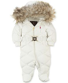 Ralph Lauren Baby Snowsuit, Baby Girls Faux Fur-Trimmed Down Bunting - Kids Ralph Lauren Baby Gift Shop - Macy's Baby Outfits, Kids Outfits, My Baby Girl, Baby Love, Baby Girl Fashion, Kids Fashion, Cute Babies, Baby Kids, Baby Snowsuit