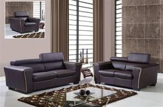 Contemporary Chocolate Dark Cappuccino Full Leather Living Room Set
