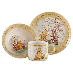Classic Winnie the Pooh nursery dinner set u2013 plate bowl and mug  sc 1 st  Pinterest & Vintage Disney