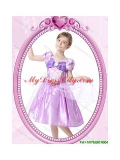 Princess V-Neck Knee-length Lilac Halloween Little Girl Pageant Dress with Bowknot and Beading
