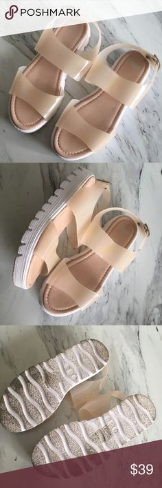 ASOS Sandals ASOS Sandals Nude/White semi opaque Worn once Comfortable  Slight discoloration see close up, not very noticeable  Slight wedge/platform  Summer Spring  Spring Break  Pool Beach Music festival ASOS Shoes Sandals