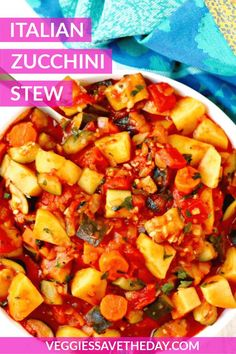 Zucchini Stew with Potatoes is a rustic Italian-inspired main dish. This vegan and gluten-free recipe is healthy and loaded with vegetables. Enjoy a warm bowl of this comforting stew on its own or with some crusty bread. Vegan Dinner Recipes, Vegan Dinners, Gluten Free Recipes, Italian Recipes, Soup Recipes, Vegetarian Recipes, Healthy Recipes, Vegetarian Gumbo, Vegan Zucchini Recipes
