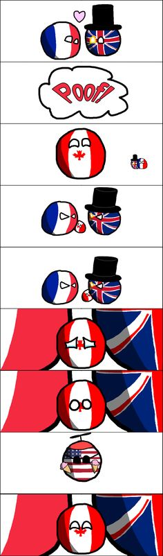 1: England and France fall in love 2: They have a kid and call him Canada 3: They fight, and get a divorce (this upsets Canada, he feels alone and sad) 4: The U.S.A (one of his friends) comes over with ice cream. 5: Canada takes his father (England's) side In the divorce and now only sees his mother on weekends (or Quebec).