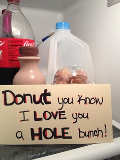 Valentine's day surprise breakfast when hubby opens the fridge in the morning. Donut holes & chocolate milk.