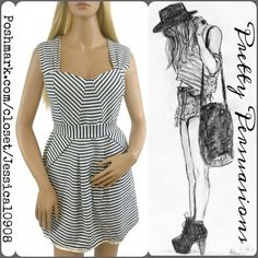 """Hazel by Anthropologie Striped Dress Hazel by Anthropologie Striped Dress   MSRP $189.00  Sold out everywhere   Size: Large  Measurements taken in inches:  Length: 33"""" Bust: 37.5"""" Waist: 31"""" Hips: 37"""" Sleeveless   Featuring: ~ exposed back zipper  ~ pretty striped pattern ~ fully lined  ~ sleeveless Anthropologie Dresses"""