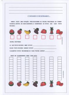 Gráfico com frutas e alimentos - Parte 2 Jean Piaget, Science, School Projects, Teacher Resources, Bullying, Literacy, Education, Blog, 30