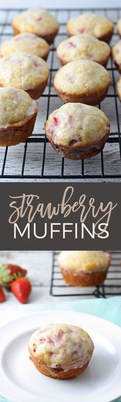 These strawberry muffins with glaze are easy to make - they're super moist, delicious and the strawberries will melt in your mouth!   honeyandbirch.com   breakfast   muffin   recipe   easy   healthy   strawberry   berry   best   homemade