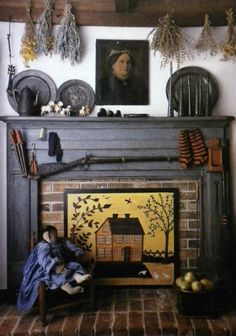 American Country Decorating ♥Vintage Out Of Print♥Country Book Love the fire board…pewter, rifle, dried herbs, doll and chair plus period Primitive Fireplace, Primitive Homes, Faux Fireplace, Country Primitive, Fireplace Screens, Fireplaces, Fireplace Ideas, Fireplace Cover, Mantle Ideas
