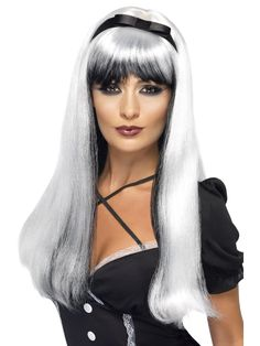 Smiffys Bewitching Wig Costume, Silver/Black, One Size Best Halloween Costumes & Dresses USA Witch Fancy Dress, Halloween Fancy Dress, Visual Kei, Halloween Wigs, Halloween Party, Adult Halloween, Fancy Dress Accessories, Halloween Costume Accessories, Black Wig