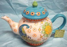 Hand painted Peacock Ceramic Tea Pot