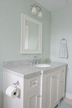 Toilet paper holder on side of vanity - Palladian Blue Benjamin Moore Bathroom Benjamin Moore Palladian Blue