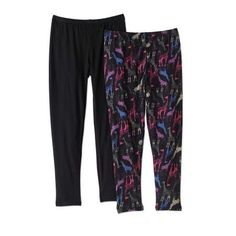 One Step Up Girls' Legging Life 2-Pack Printed and Solid Leggings, Size: M(10/12), Multicolor