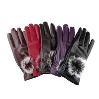Damas 1pcs invierno nuevos Guantes de piel cutePU moda cuero simulado de invierno cálido de cuero caliente guantes de moto para mujeres