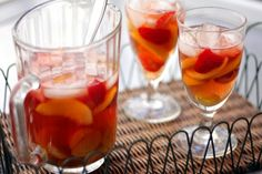 A chilly Sangria recipe that uses rosé wine, berries, peaches & other fruits.