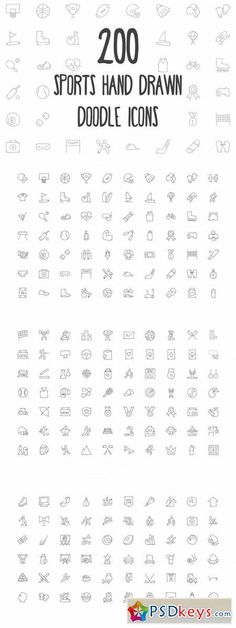 200 Sports Hand Drawn Doodle Icons 160809
