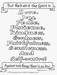 Coloring Pages for Kids by Mr. Adron: Free Fruit Of The Spirit Coloring Page, Galatians ...