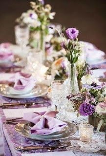 33 Lavender Wedding Decor Ideas You Will Love Wedding Table Centerpieces, Wedding Table Settings, Wedding Decorations, Table Decorations, Marie, Glass Vase, Violet, Home Decor, Decor Ideas