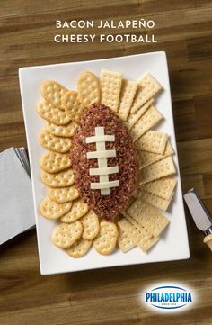 Looking for the perfect Game Day party snack? Our Bacon Jalapeño Cheesy Football, made with PHILADELPHIA Original Cream Cheese, OSCAR MAYER bacon bits, KRAFT provolone, green onion, and jalapeño is a presentation-worthy dip. Until your guests get to it, that is.