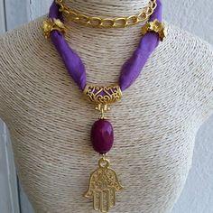 Handmade jewelry. Long Necklace. Semi precious stones with silk. Design. Hamsa.