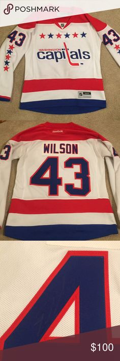 Washington Capitals jersey Like new! Autographed by tom wilson but the signature is very faded :( accidentally ordered a women's small and don't like the fit. Make me an offer!! Reebok Tops