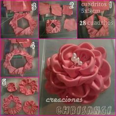 How to make simple Fabric Roses DIY tutorial instructions, How to, how to do, di Ribbon Embroidery Tutorial, Ribbon Flower Tutorial, Silk Ribbon Embroidery, Embroidery Thread, Embroidery Patterns, Fabric Roses Diy, Fabric Flower Brooch, Ribbon Art, Ribbon Crafts