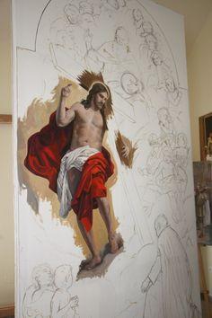 Jesus Drawings, Dark Art Drawings, Religious Icons, Religious Art, Pictures Of Jesus Christ, Jesus Art, Anatomy For Artists, Catholic Art, Painting Process