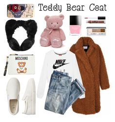 """""""Teddy Bear Coat 🐻🐻"""" by sassysals ❤ liked on Polyvore featuring NIKE, J.Crew, Gap, Moschino, Boohoo, Casetify, Gund, Butter London, NYX and Clinique"""