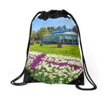 Purple Cross in the Tulip Bed Drawstring Bag