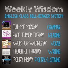 Weekly ELA bellringer schedule                                                                                                                                                                                 Más