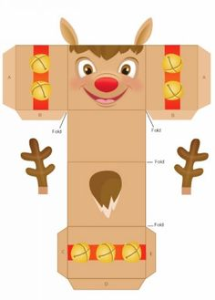 Easy Homemade Reindeer Christmas Gift Box Templates, 2013 Christmas Gift Box Ideas, DIY Reindeer Christmas Boxes