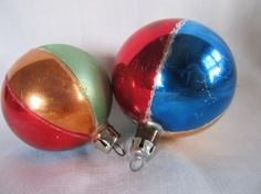 Vintage Set Of 2 Striped Beach Ball Christmas by AuntSuesVintage, $8.99