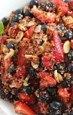 Low FODMAP and Gluten Free Recipe - Summer berry quinoa salad  -   http://www.ibssano.com/low_fodmap_recipe_summer_berry_quinoa_salad.html