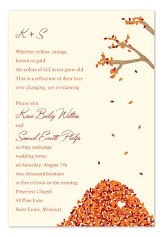 Leaves Falling - Wedding Invitations by Invitation Consultants. (Item # IC-RLP-H-12-EC )