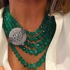 Diamond Necklace A Beautiful Necklace composed of 1000 carats of Colombian Emeralds Beads held by a Diamond, Emerald and Ruby Clip. Made in Italy, circa . Emerald Necklace, Diamond Pendant Necklace, Diamond Jewelry, Diamond Necklaces, Drop Necklace, Silver Jewellery, Glass Necklace, Gold Necklace, Luxury Jewelry