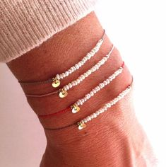 Set of two Bracelets - Tiny Pearl on Silk - Gemstone Miracle Friendship bracelet